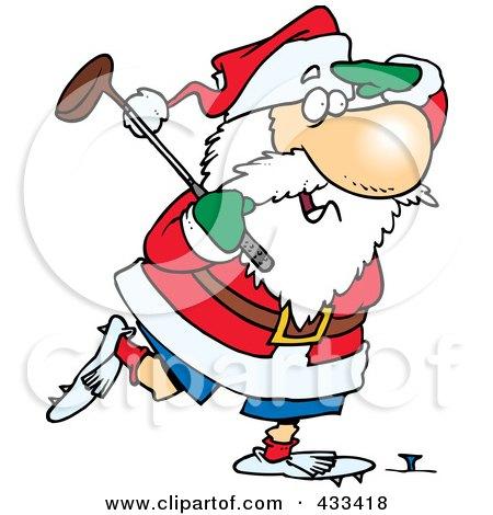 Royalty-Free (RF) Clipart Illustration Of Santa Golfing by toonaday