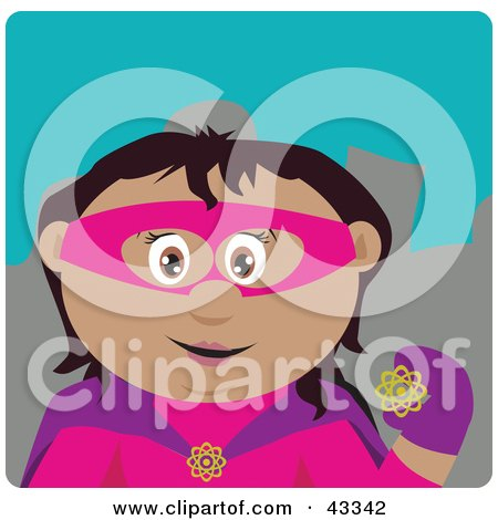 Clipart Illustration of a Hispanic Super Hero Woman In Costume by Dennis Holmes Designs