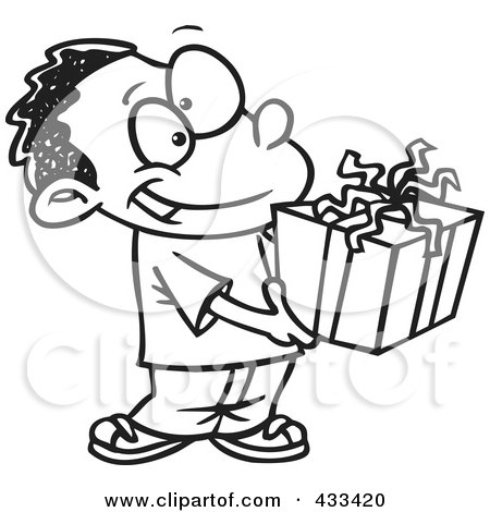 Royalty-Free (RF) Clipart Illustration Of Coloring Page Line Art Of A Black Boy Holding A Gift Box by toonaday