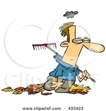 Royalty-Free (RF) Clipart Illustration Of A Grumpy Man Raking Autumn Leaves by toonaday
