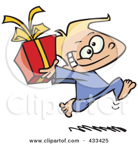 Royalty-Free (RF) Clipart Illustration Of A Black Boy Running With A Gift Box by toonaday