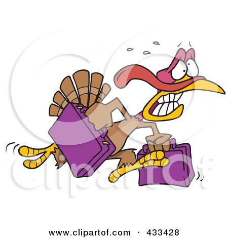 Royalty-Free (RF) Clipart Illustration Of A Turkey Bird Running In Panic With Luggage by toonaday