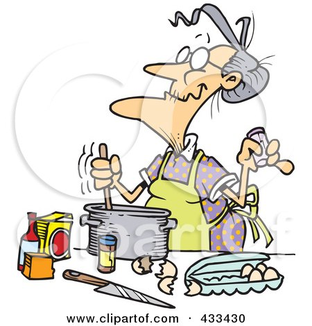 Royalty-Free (RF) Clipart Illustration Of An Old Woman Baking by toonaday