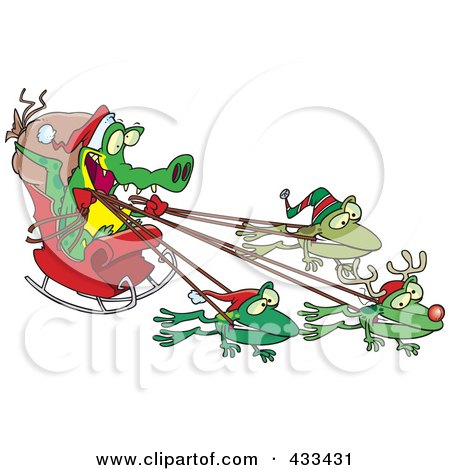 Royalty-Free (RF) Clipart Illustration Of A Crocodile Santa With Frog Reindeer by toonaday