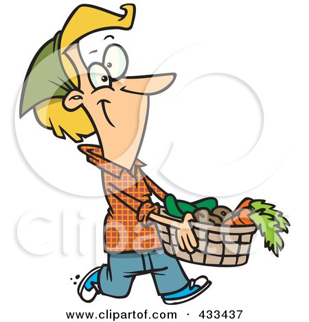 Royalty-Free (RF) Clipart Illustration Of A Woman Carrying A Harvest Basket by toonaday
