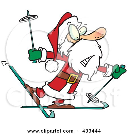 Royalty-Free (RF) Clipart Illustration Of A Nervous Santa Skiing by toonaday