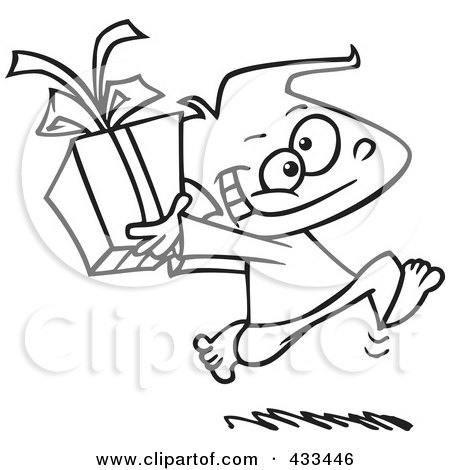 Royalty-Free (RF) Clipart Illustration Of Coloring Page Line Art Of A Black Boy Running With A Gift Box by toonaday