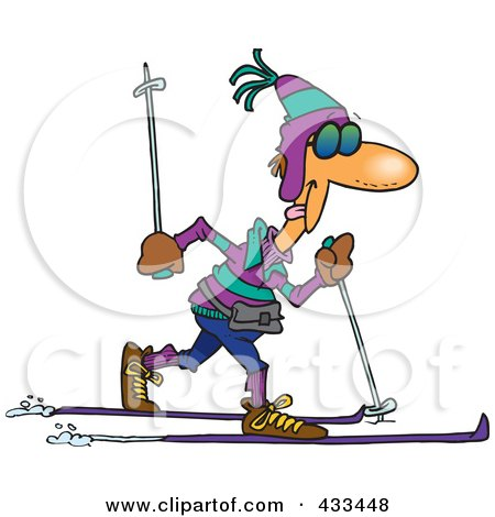 Royalty-free clipart illustration of a man cross country skiing,