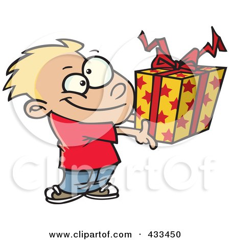 Royalty-Free (RF) Clipart Illustration Of A Boy Holding A Gift Box by toonaday