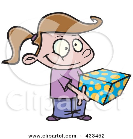 Royalty-Free (RF) Clipart Illustration Of A Sweet Girl Holding A Gift Box by toonaday