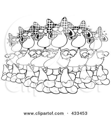 Royalty-Free (RF) Clipart Illustration Of Coloring Page Line Art Of Six Geese A Laying by toonaday