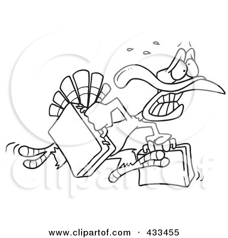 Royalty-Free (RF) Clipart Illustration Of Coloring Page Line Art Of A Turkey Bird Running In Panic With Luggage by toonaday
