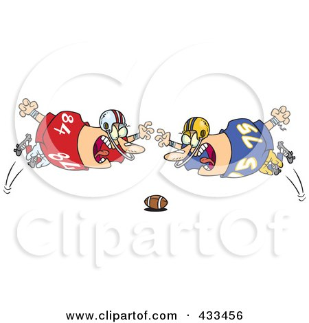 Royalty-Free (RF) Clipart Illustration Of Football Players Diving Towards The Ball by toonaday