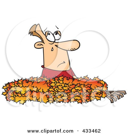 Royalty-Free (RF) Clipart Illustration Of A Man Crying In A Pile Of Autumn Leaves by toonaday
