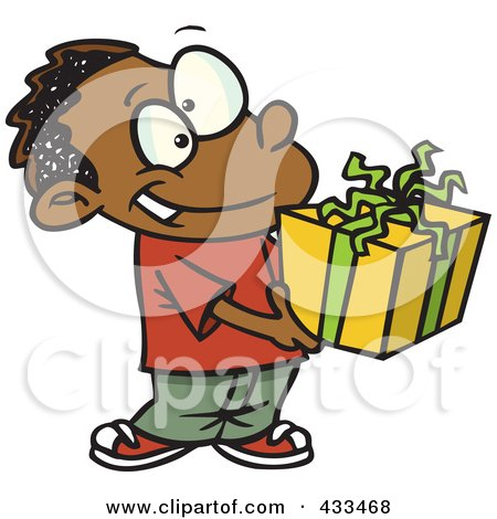 Royalty-Free (RF) Clipart Illustration Of A Black Boy Holding A Gift Box by toonaday