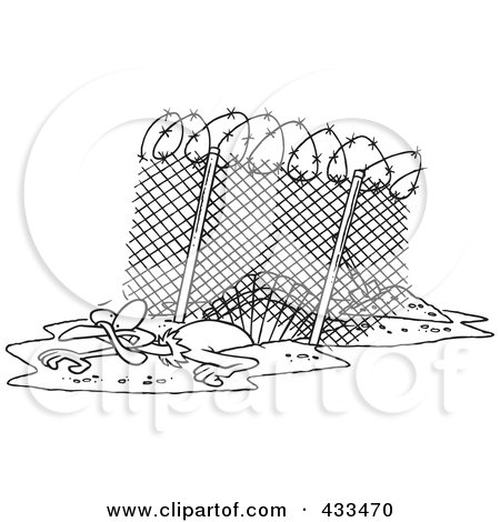Royalty-Free (RF) Clipart Illustration Of Coloring Page Line Art Of A Turkey Bird Escaping Under An Enclosure by toonaday