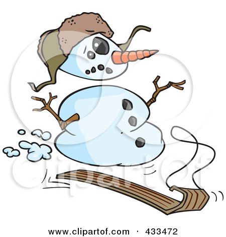 Royalty-Free (RF) Clipart Illustration Of A Sledding Snowman by toonaday