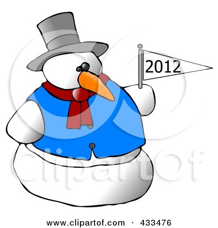 Royalty-Free (RF) Clipart Illustration of a Snowman Holding A New Year Flag by djart