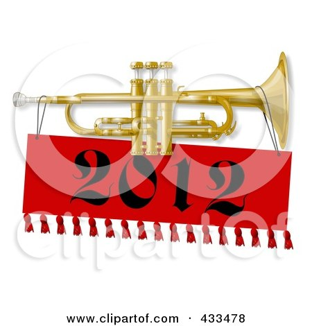 Royalty-Free (RF) Clipart Illustration of a New Year Trumpet With A 2012 Banner by djart