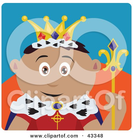 Clipart Illustration of a Royal Latin American King Holding A Staff by Dennis Holmes Designs