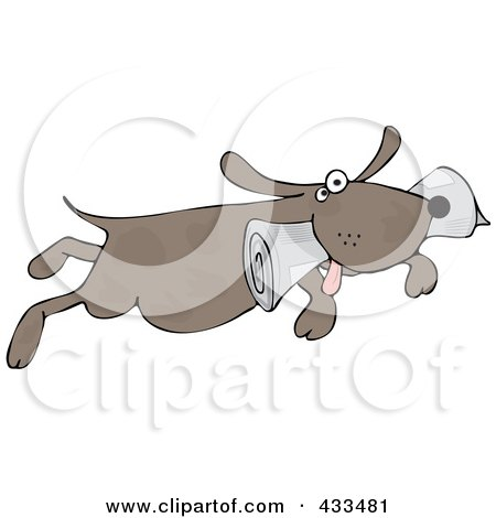 Royalty-Free (RF) Clipart Illustration of a Pooch Fetching A Newspaper by djart