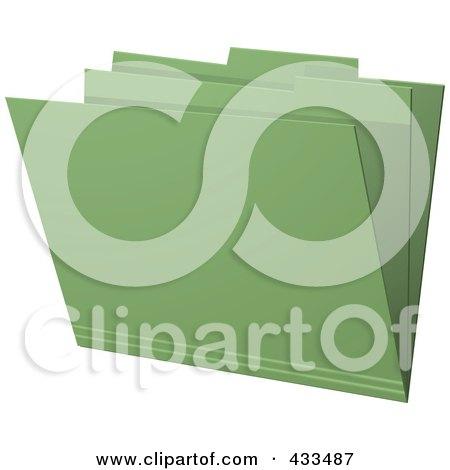 Royalty-Free (RF) Clipart Illustration Of A 3d Green Manila Folder by elaineitalia