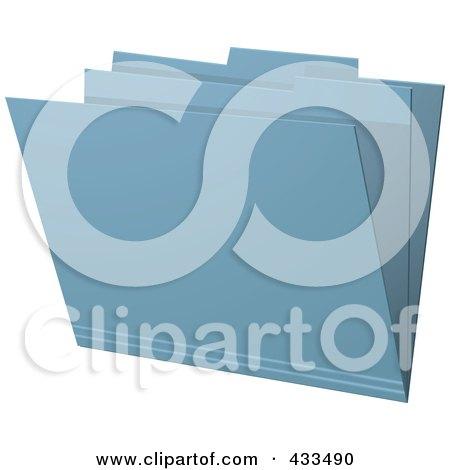 Royalty-Free (RF) Clipart Illustration Of A 3d Blue Manila Folder by elaineitalia