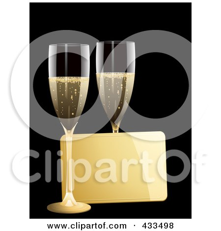 Royalty-Free (RF) Clipart Illustration Of A Gold Message Tag Between Two Glasses Of Champagne by elaineitalia
