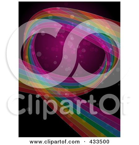 Royalty-Free (RF) Clipart Illustration Of A Background Of A Rainbow Curve With Sparkles On Pink And Black by elaineitalia