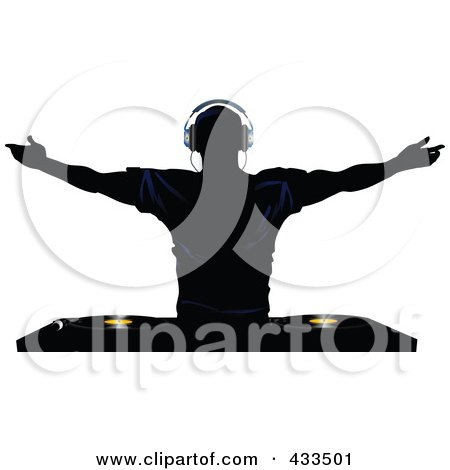 Royalty-Free (RF) Clipart Illustration Of A Silhouetted Male DJ Holding His Arms up Above Record Decks by elaineitalia