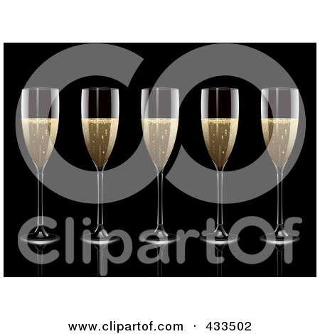 Royalty-Free (RF) Clipart Illustration Of A Row Of Champagne Glasses by elaineitalia