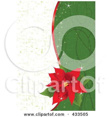 Royalty-Free (RF) Clipart Illustration Of A Red Poinsettia Flower Over A Half White And Green Grunge And Green Swirl Background by Pushkin