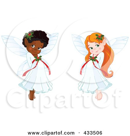 Royalty-Free (RF) Clipart Illustration Of A Digital Collage Of Cute Black And Red Haired Christmas Fairy Girls by Pushkin
