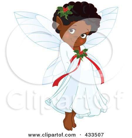 Royalty-Free (RF) Clipart Illustration Of A Cute Black Christmas Fairy by Pushkin