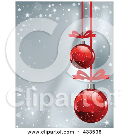 Royalty-Free (RF) Clipart Illustration Of A Gray Christmas Background With Snowflake Waves And Red Baubles by Pushkin
