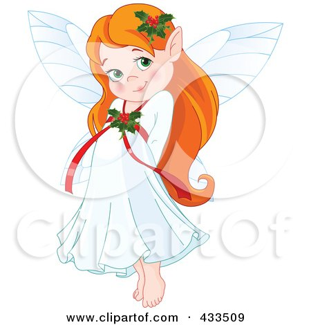 Royalty-Free (RF) Clipart Illustration Of A Cute Red Haired Christmas Fairy Girl by Pushkin