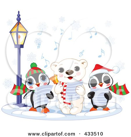 Royalty-Free (RF) Clipart Illustration Of A Cute Polar Bear And Two Penguins Singing Christmas Carols On A Winter Night by Pushkin