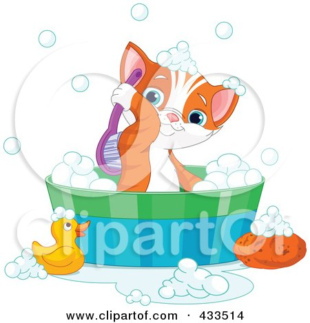 Royalty-Free (RF) Clipart Illustration Of A Cute Kitten Scrubbing His Back While Taking A Bath by Pushkin