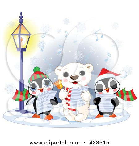 Royalty-Free (RF) Clipart Illustration Of A Cute Polar Bear And Two Penguins Singing Christmas Carols On A Wintry Night by Pushkin