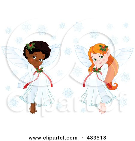 Royalty-Free (RF) Clipart Illustration Of A Digital Collage Of Cute Black And Red Haired Christmas Fairy Girls With Snowflakes by Pushkin