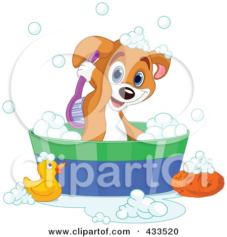Royalty-Free (RF) Clipart Illustration Of A Cute Puppy Scrubbing His Back While Taking A Bath by Pushkin