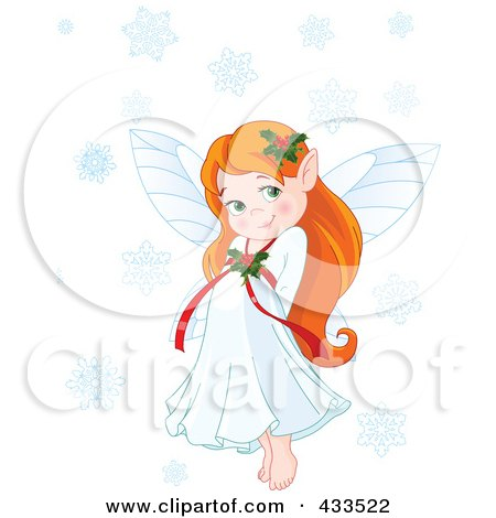 Royalty-Free (RF) Clipart Illustration Of A Cute Red Haired Christmas Fairy Girl With Snowflakes by Pushkin