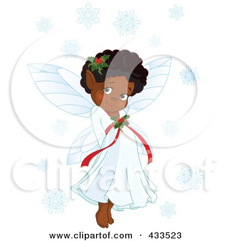 Royalty-Free (RF) Clipart Illustration Of A Cute Black Christmas Fairy Girl With Snowflakes by Pushkin