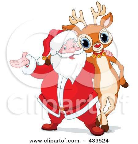 Royalty-Free (RF) Clipart Illustration Of Santa And Rudolph Standing Together by Pushkin