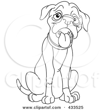 Coloring Page Outline Of A Sitting And Panting Dog Posters
