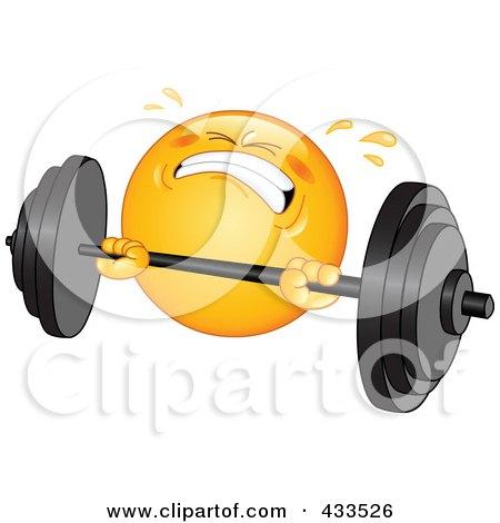 Royalty-Free (RF) Clipart Illustration of a Sweaty Emoticon Lifting A Heavy Barbell by yayayoyo