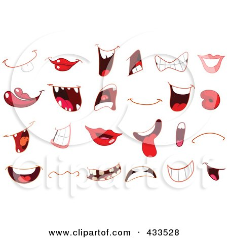 Royalty-Free (RF) Clipart Illustration of a Digital Collage Of Different Mouths by yayayoyo