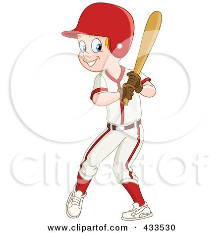 Royalty Free Rf Clipart Illustration Of Baseball Boy Smiling And Holding Bat Player Fox Batting Vector