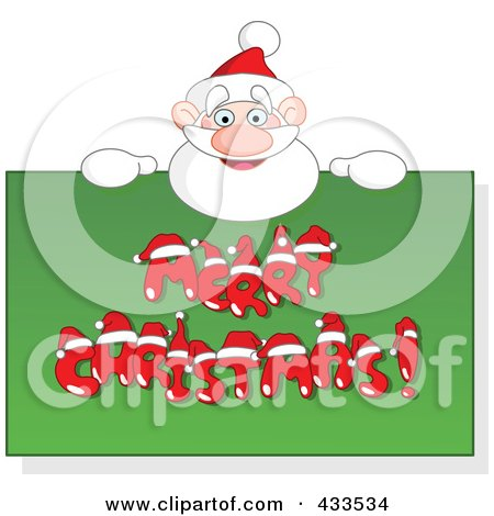 Royalty-Free (RF) Clipart Illustration of Santa Holding Up A Merry Christmas Sign by yayayoyo