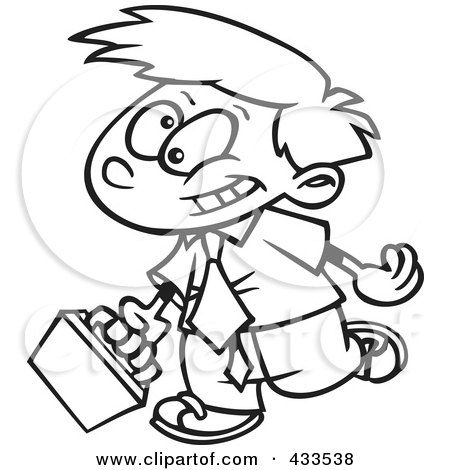 Royalty-Free (RF) Clipart Illustration of Coloring Page Line Art Of A Cartoon Boy Businessman Wearing A Tie And Walking by toonaday